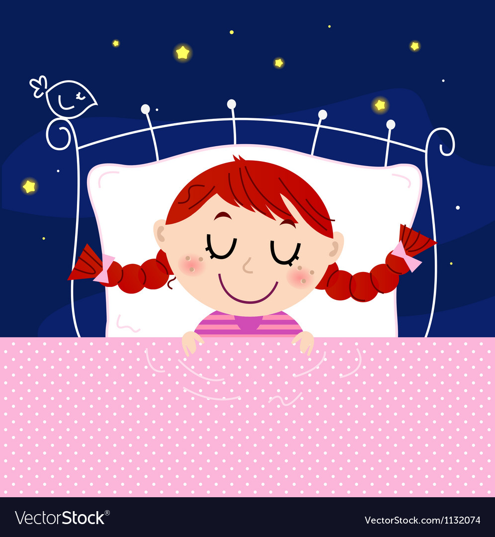 Cute little dreaming girl in bed with night sky vector | Price: 1 Credit (USD $1)