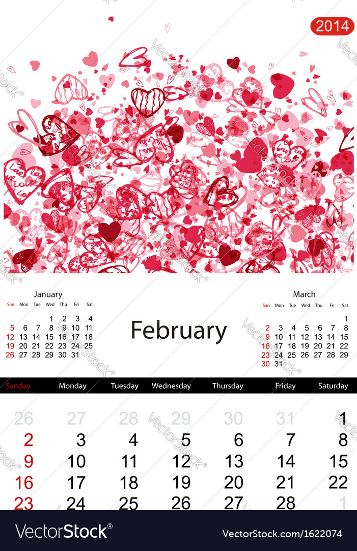 Floral calendar 2014 february vector | Price: 1 Credit (USD $1)