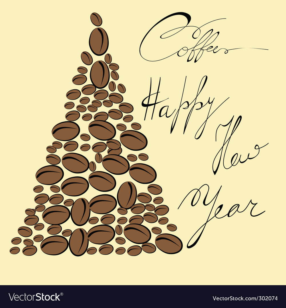 Greeting card with coffee bean vector | Price: 1 Credit (USD $1)