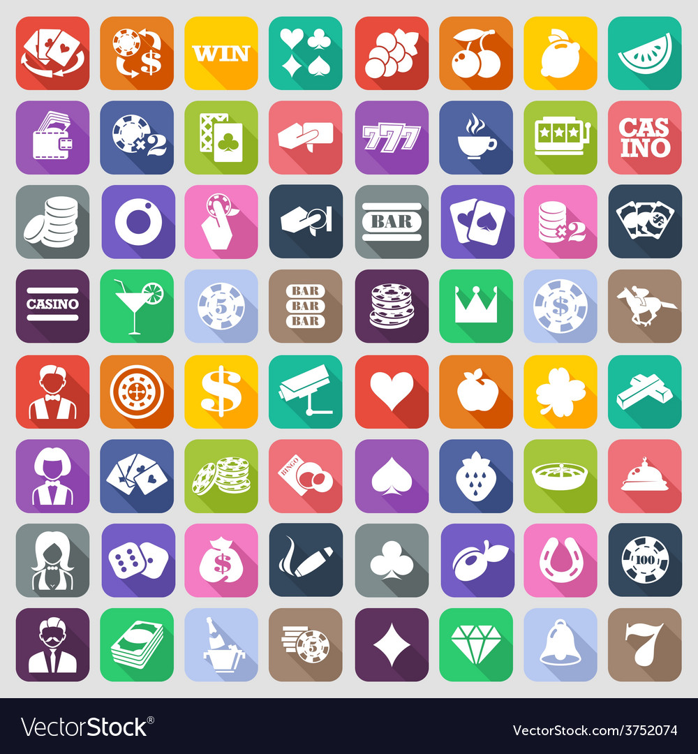 The set of flat casino icons vector | Price: 1 Credit (USD $1)