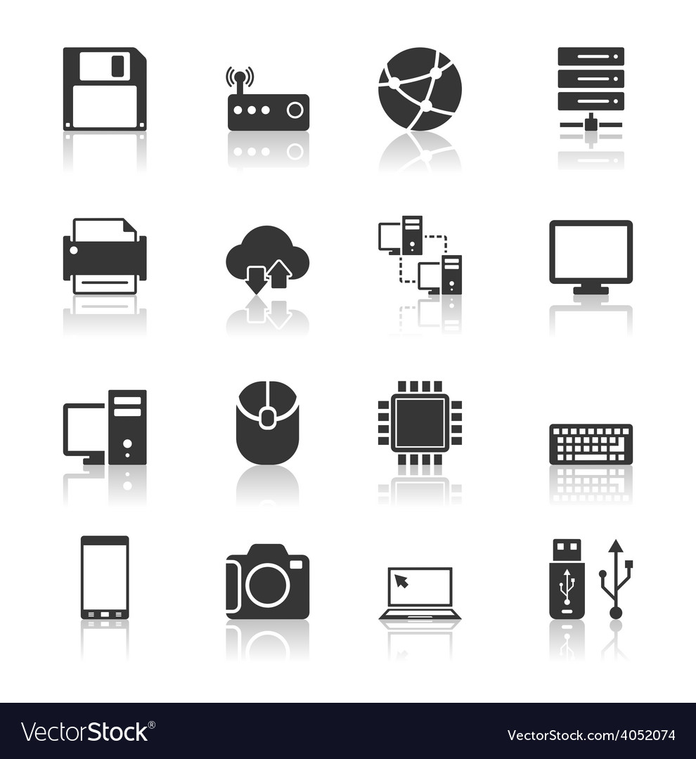 Technology icons set with reflection vector | Price: 1 Credit (USD $1)