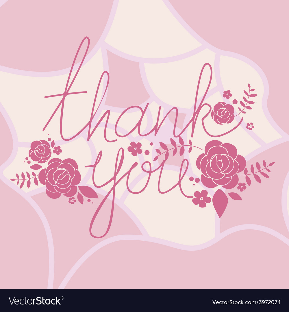 Thank you floral print vector | Price: 1 Credit (USD $1)