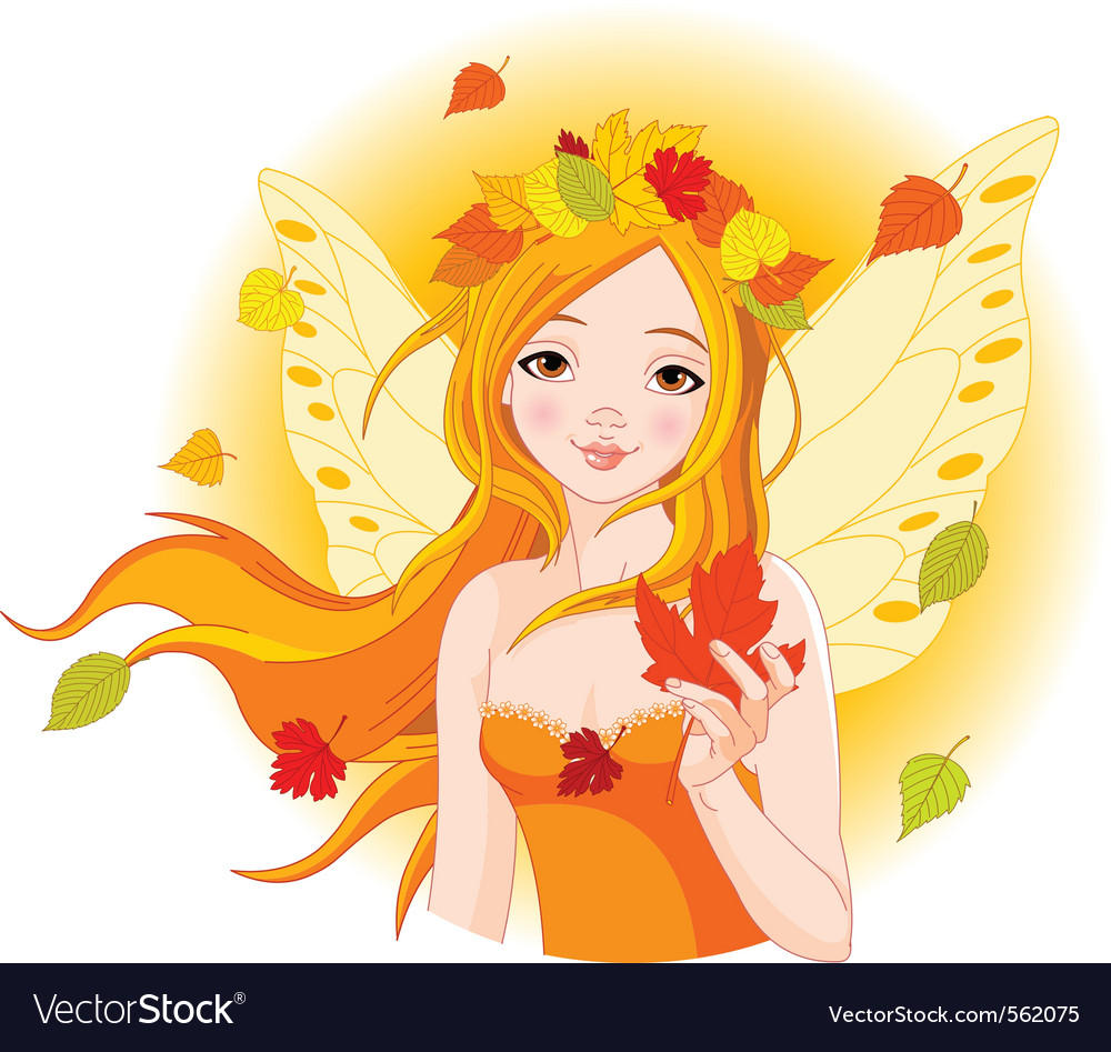 Autumn fairy with maple leaf vector | Price: 3 Credit (USD $3)