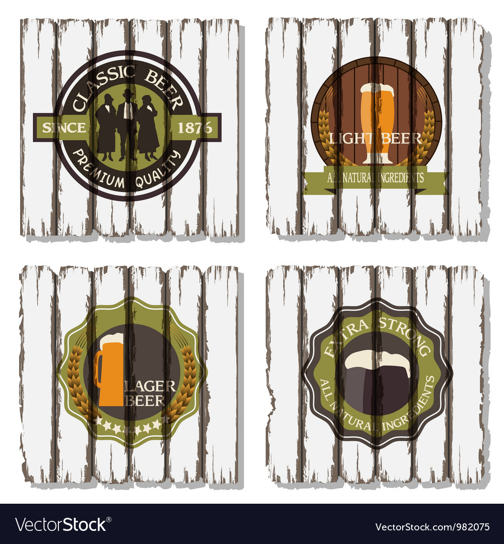 Beer badges and labels on wooden background vector | Price: 1 Credit (USD $1)