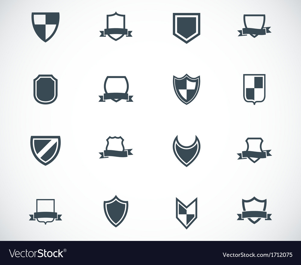 Black icon shield icons set vector | Price: 1 Credit (USD $1)