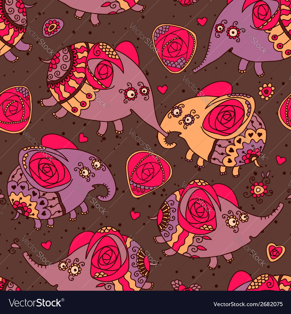 Cheerful seamless pattern with elephants and roses vector | Price: 1 Credit (USD $1)