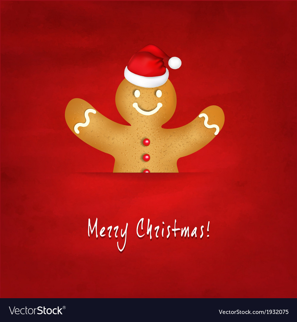Gingerbread man with santa hat and old red vector | Price: 1 Credit (USD $1)