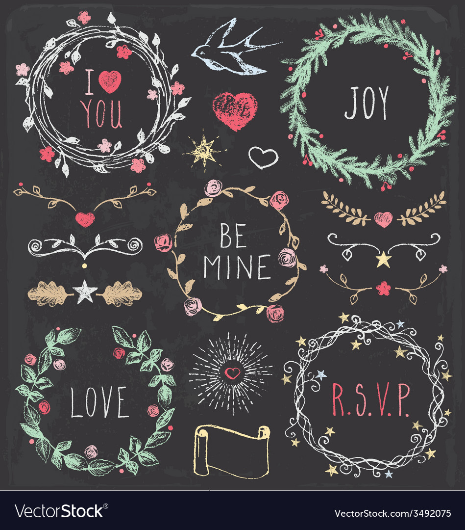 Hand drawn vintage chalkboard festive elements set vector | Price: 1 Credit (USD $1)