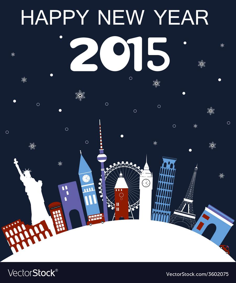 Happy new year travel card vector | Price: 1 Credit (USD $1)
