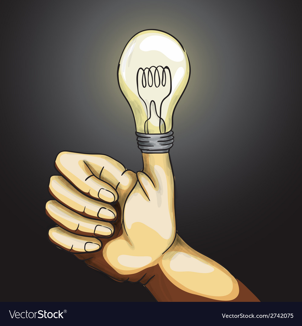 Ok hand lamp bulb vector | Price: 1 Credit (USD $1)