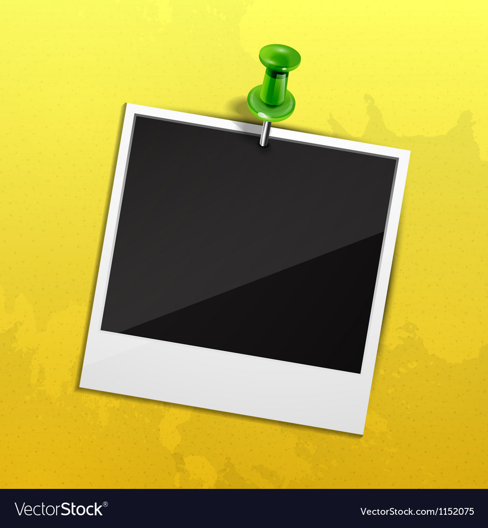 Photo on yellow wall fixed with green pin vector | Price: 1 Credit (USD $1)
