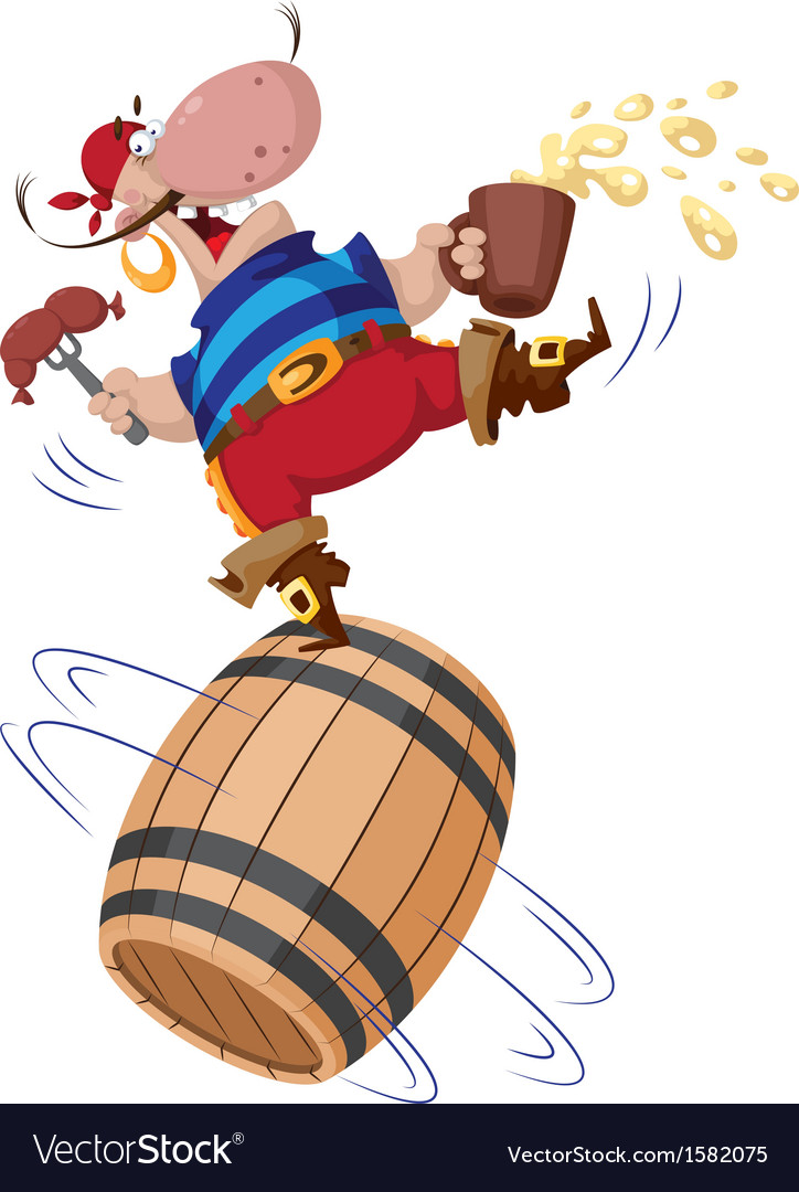 Pirate on a barrel vector | Price: 1 Credit (USD $1)