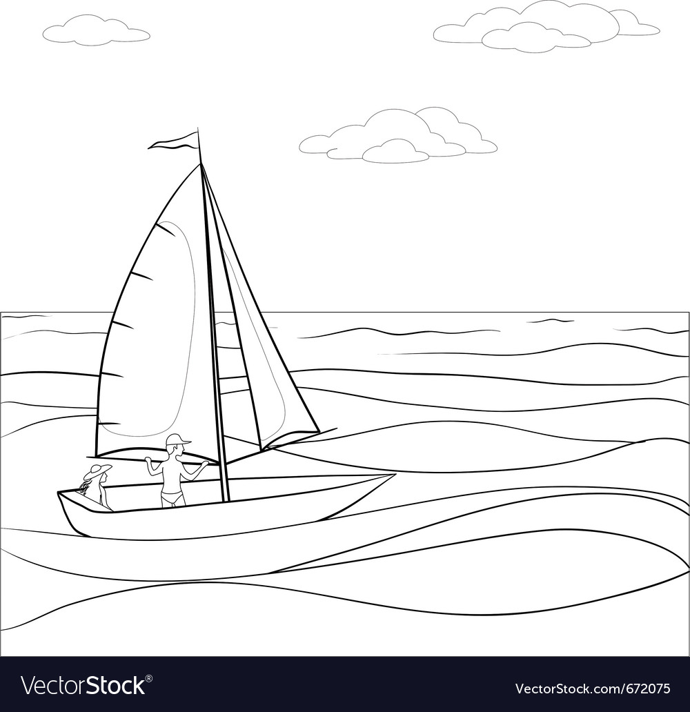 Sailing boat in the sea contours vector | Price: 1 Credit (USD $1)