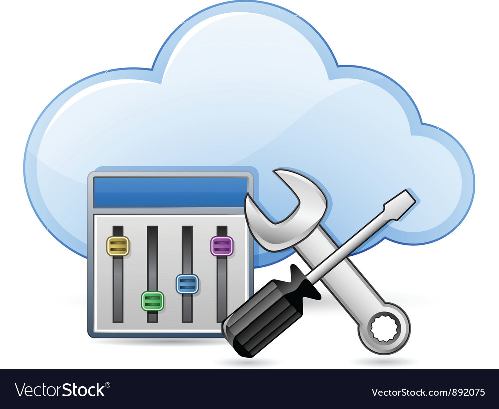 Screwdriver spanner and cloud vector | Price: 3 Credit (USD $3)