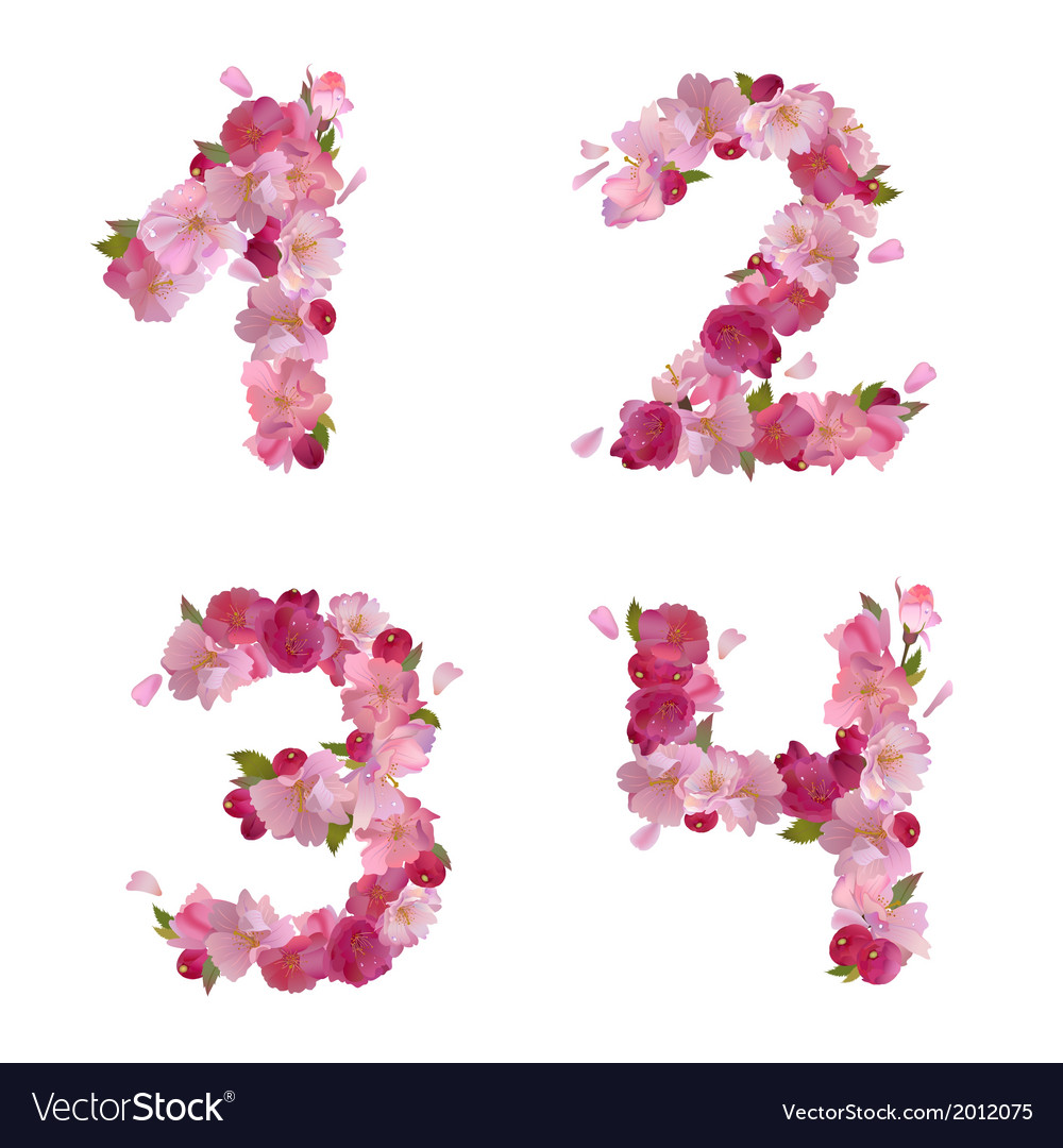 Spring font from cherry flowers figures 1234 vector | Price: 1 Credit (USD $1)