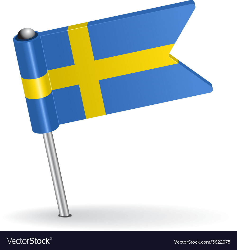Swedish pin icon flag vector | Price: 1 Credit (USD $1)