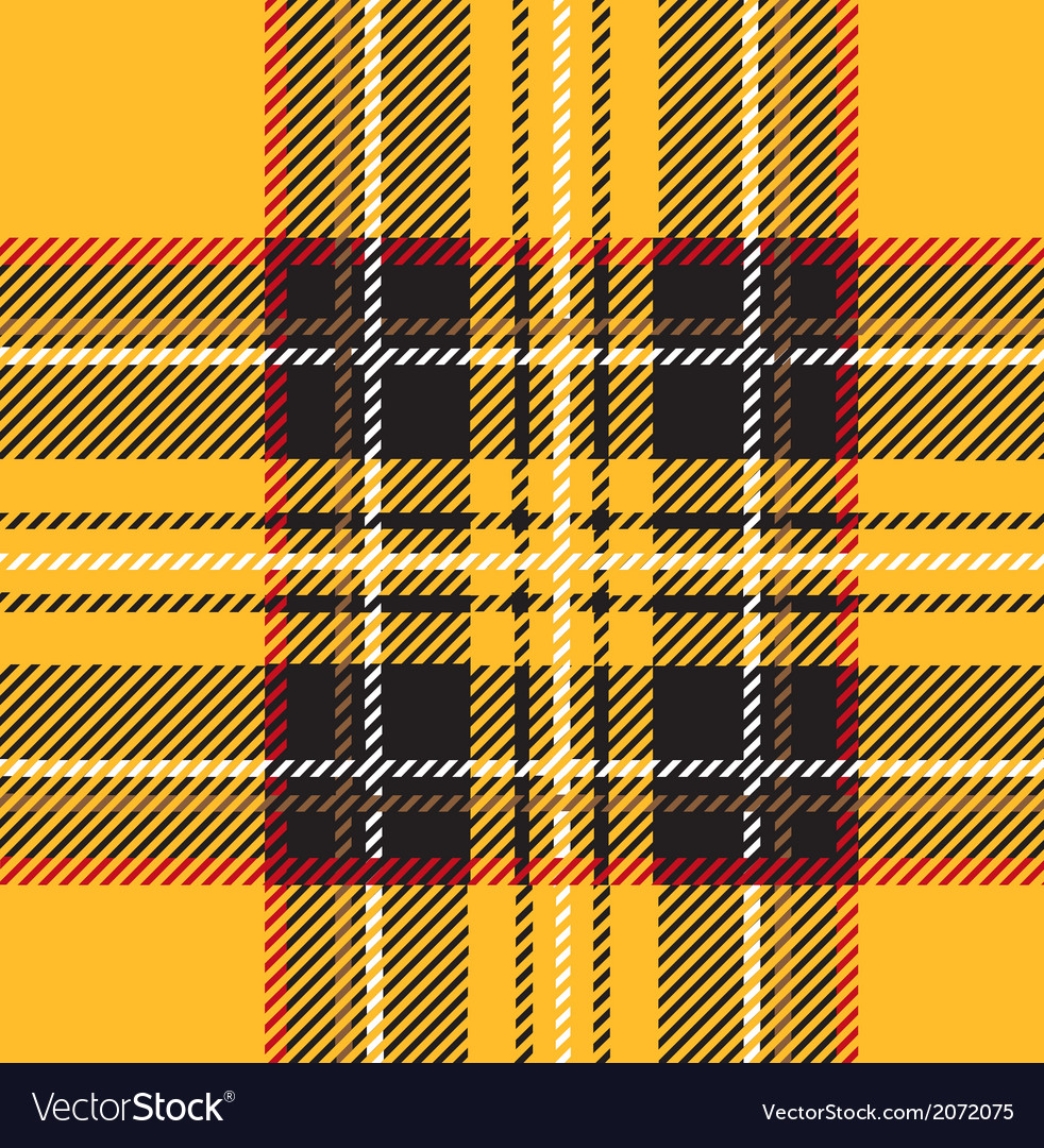 Traditional seamless yellow tartan pattern vector | Price: 1 Credit (USD $1)