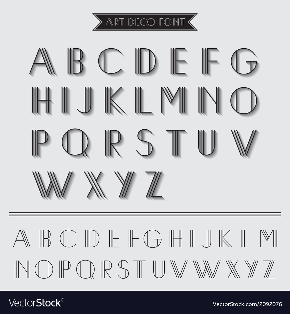 Art deco type font vintage typography vector | Price: 1 Credit (USD $1)