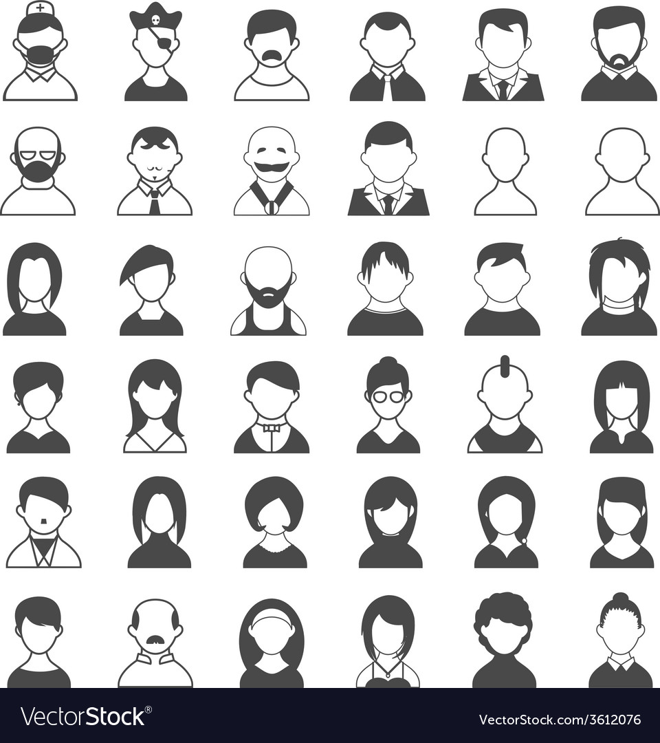 Black and white user icons vector | Price: 1 Credit (USD $1)