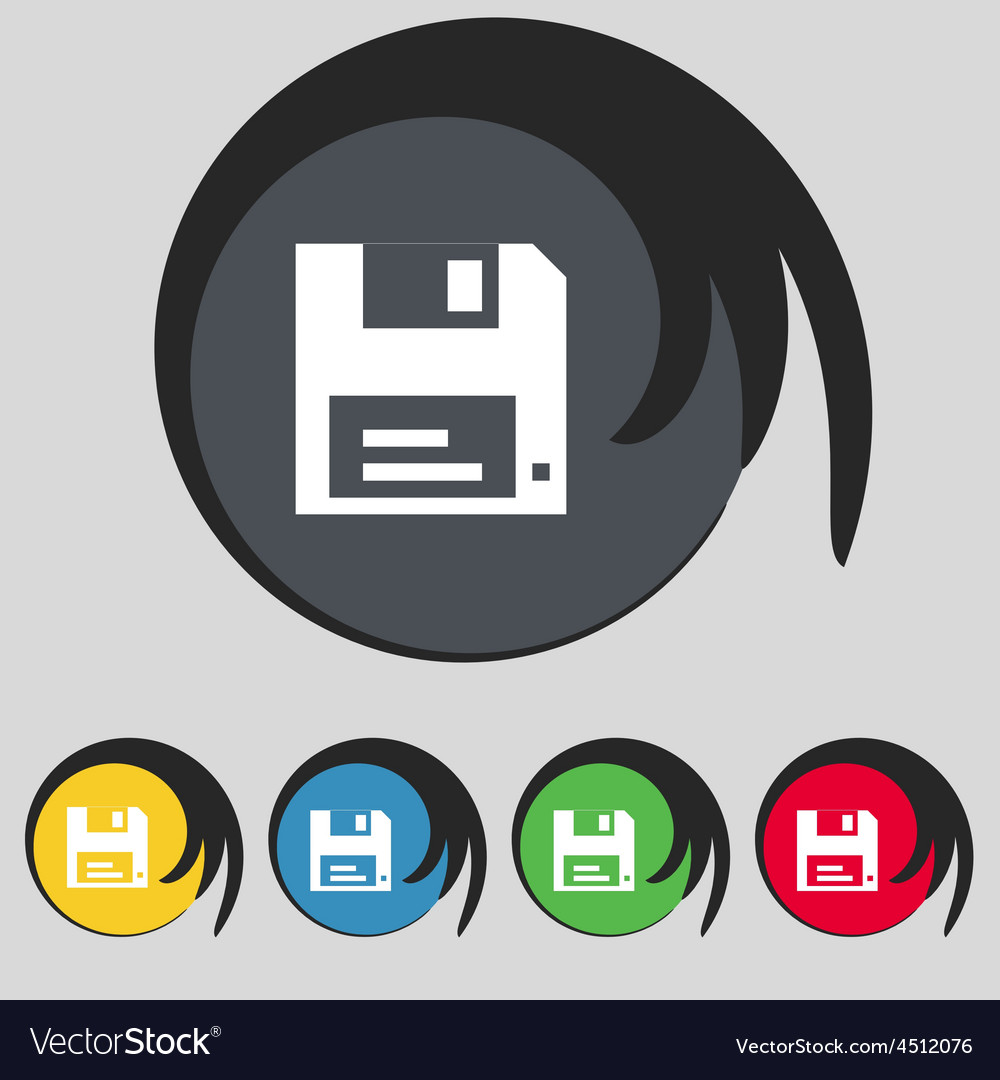 Floppy icon sign symbol on five colored buttons vector   Price: 1 Credit (USD $1)