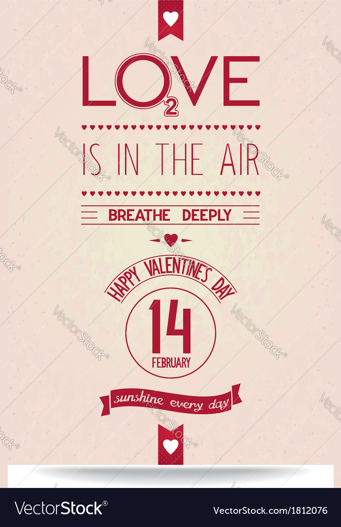 Just valentines day banner in vintage style vector | Price: 1 Credit (USD $1)