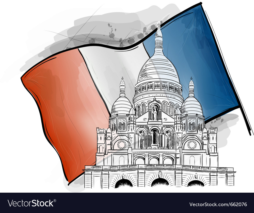 Sacre coeur on the france flag vector | Price: 3 Credit (USD $3)