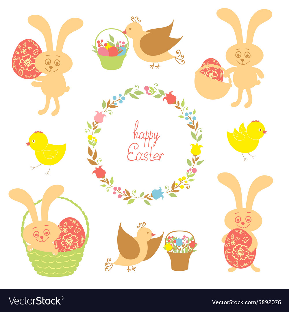 Set for easter with easter items vector | Price: 1 Credit (USD $1)