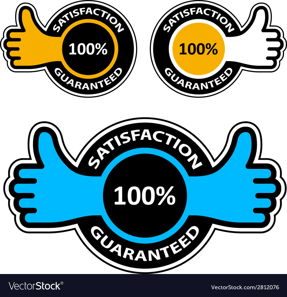 Thumb up satisfaction guaranteed labels vector | Price: 1 Credit (USD $1)