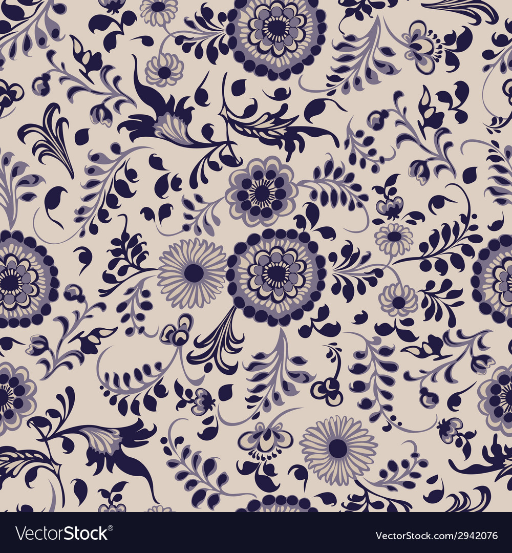 Vintage seamless floral pattern gzhel vector | Price: 1 Credit (USD $1)