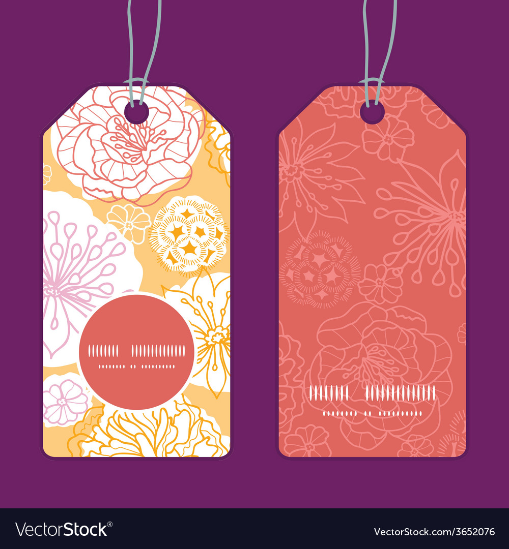 Warm day flowers vertical round frame pattern tags vector | Price: 1 Credit (USD $1)