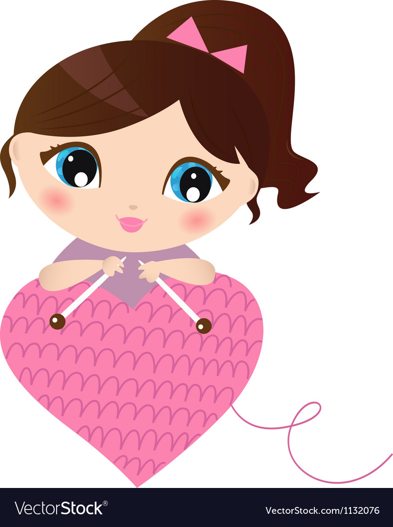 Woman making knitted heart isolated on white vector | Price: 1 Credit (USD $1)