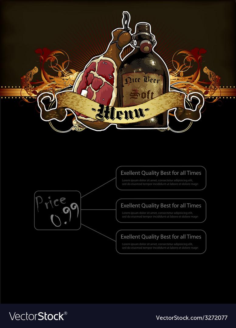 Beer and snack menu vector | Price: 1 Credit (USD $1)