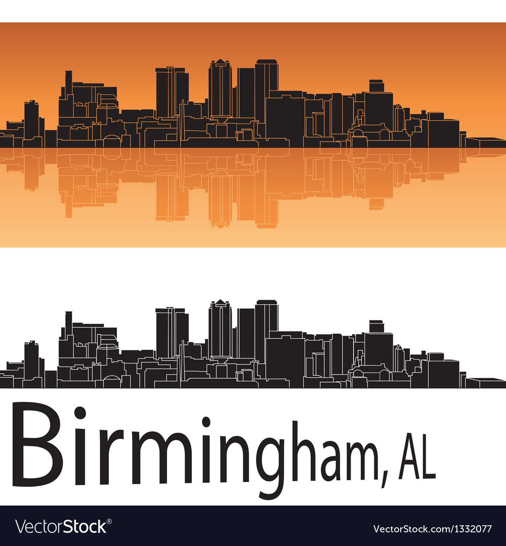 Birmingham skyline in orange background vector | Price: 1 Credit (USD $1)