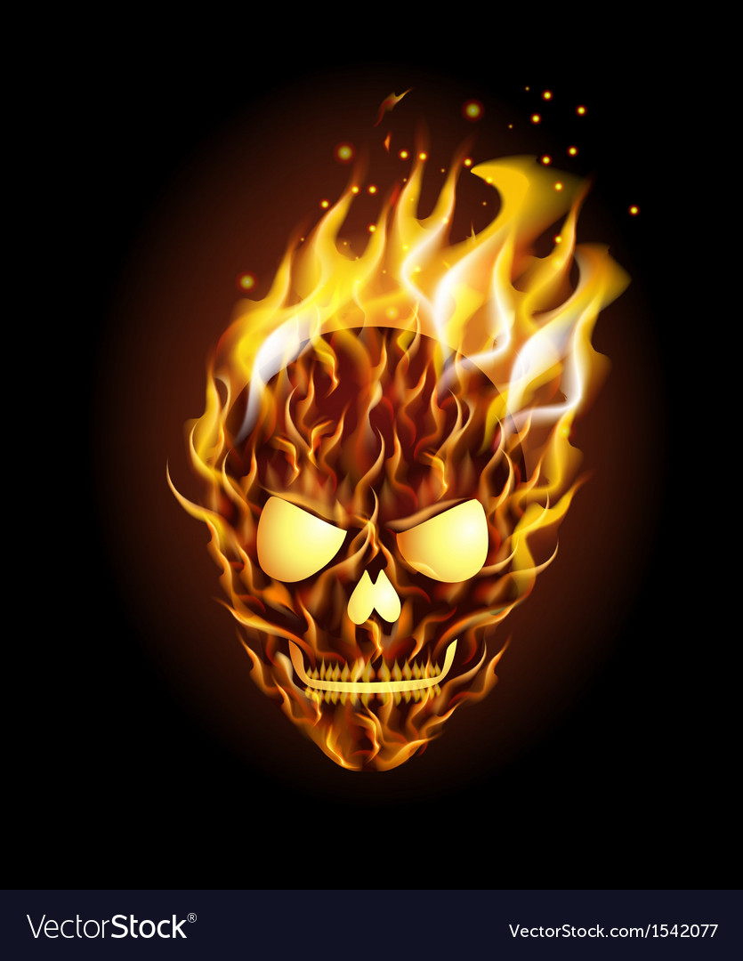 Scary skull on fire vector | Price: 1 Credit (USD $1)