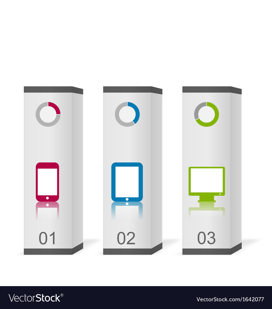 Set boxes with simple gadgets infographic icons vector | Price: 1 Credit (USD $1)