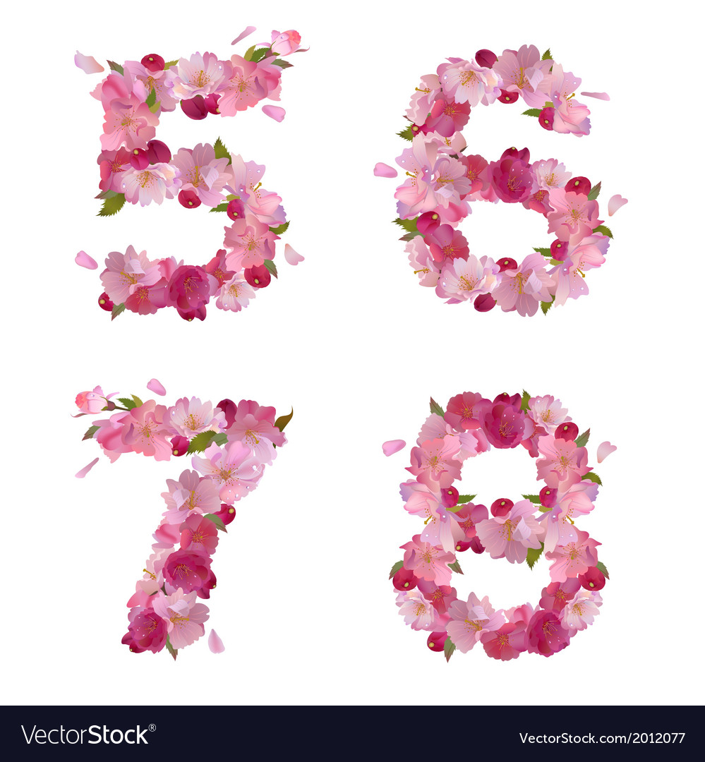 Spring font from cherry flowers figures 5678 vector | Price: 1 Credit (USD $1)