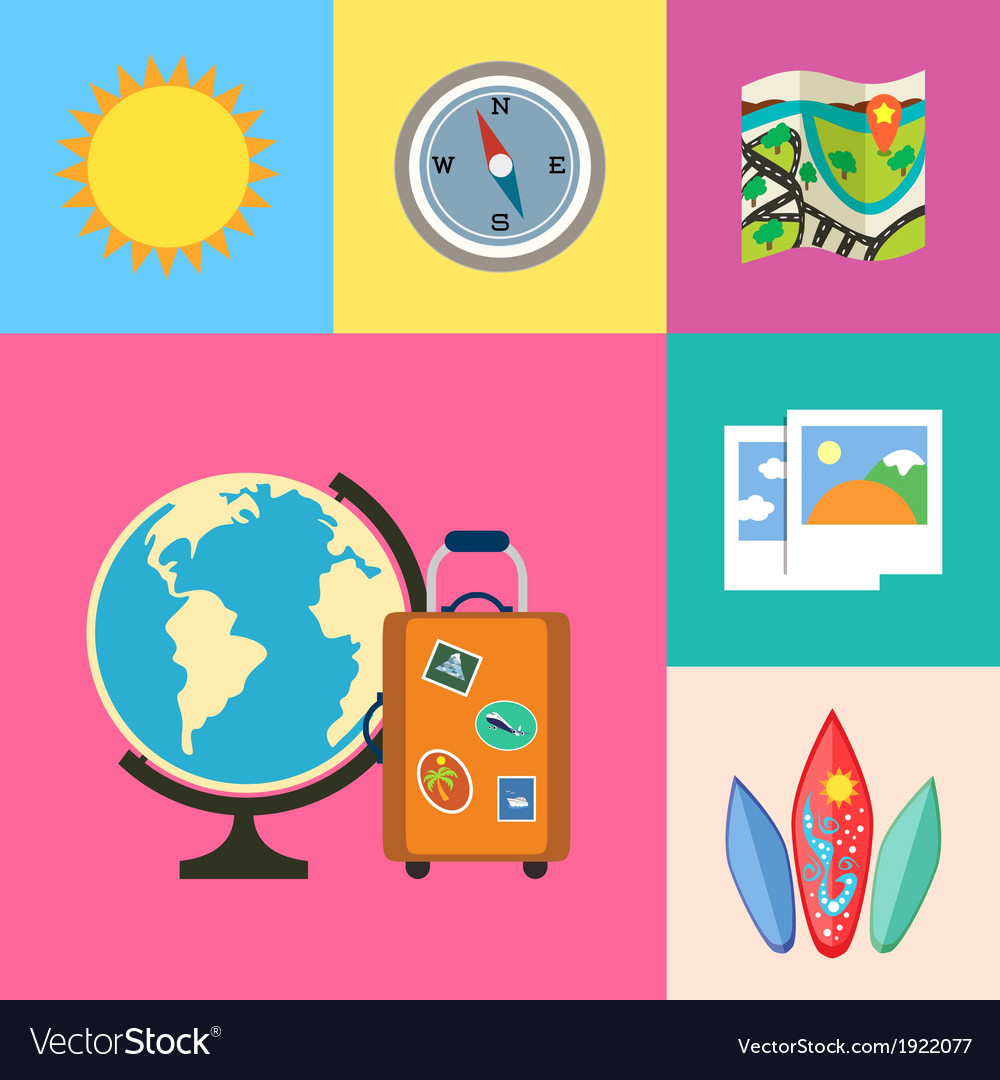 Vacation holidays and travel icons set vector | Price: 1 Credit (USD $1)