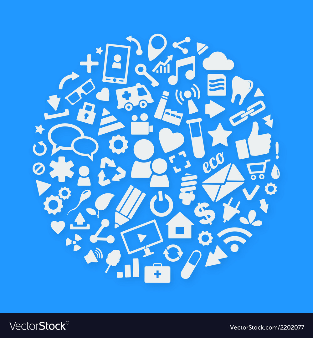 White icons arranged inside circle vector   Price: 1 Credit (USD $1)