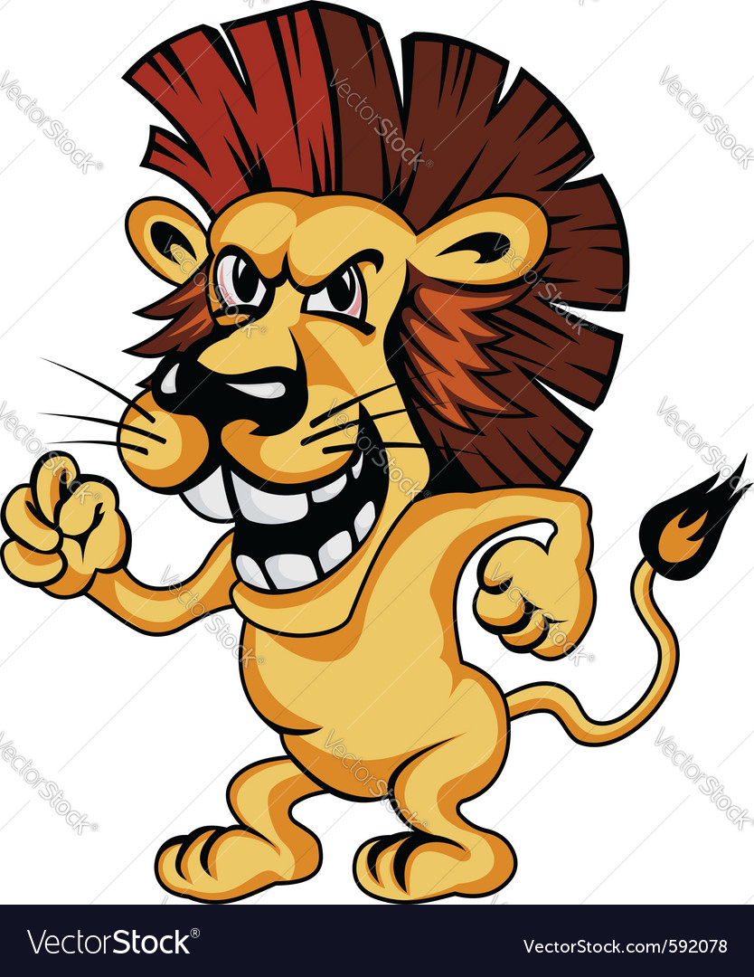 Angry cartoon lion vector | Price: 3 Credit (USD $3)