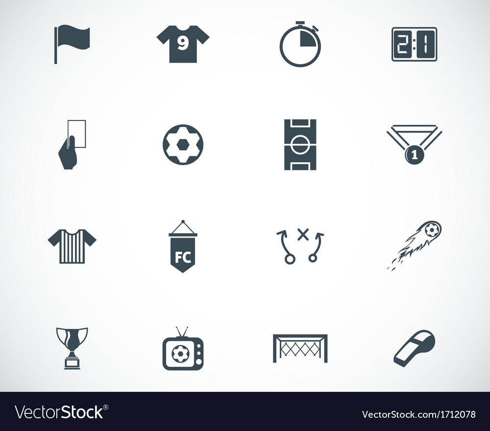 Black soccer icons set vector | Price: 1 Credit (USD $1)