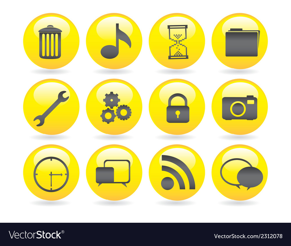 Bubbles icons gel containing garbage settings gear vector | Price: 1 Credit (USD $1)