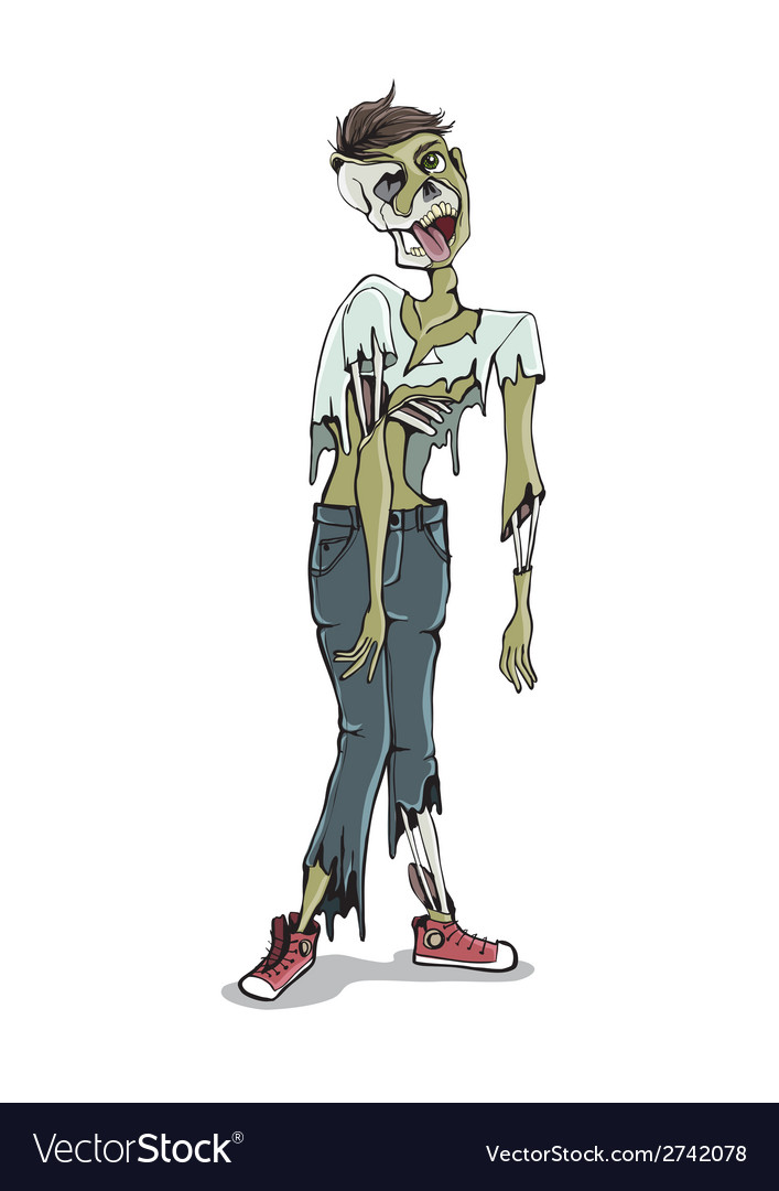 Cartoon zombie isolated on white vector | Price: 1 Credit (USD $1)