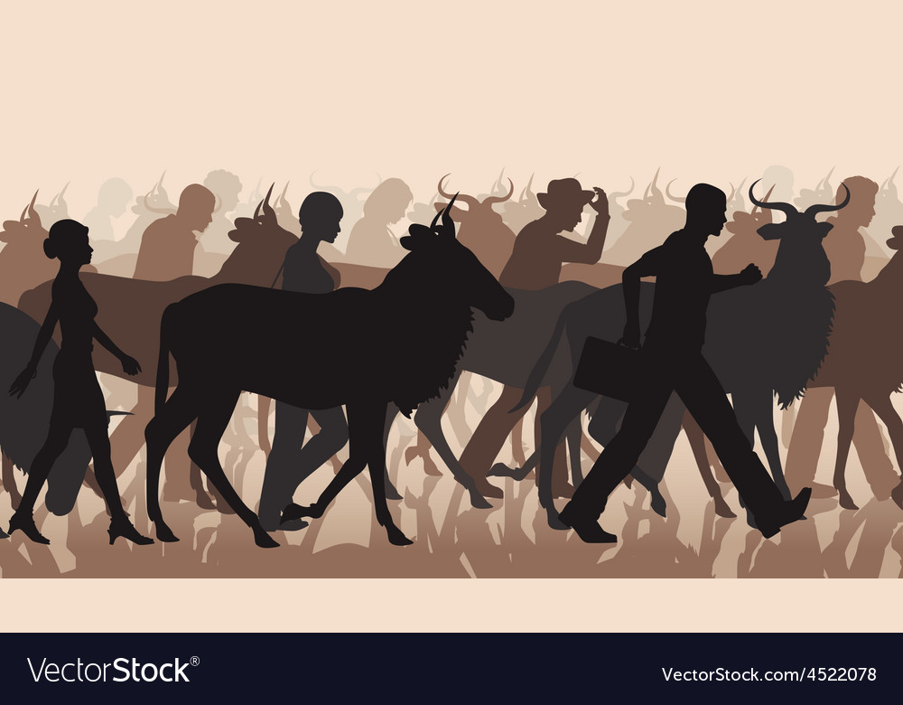 Commuting people and wilderbeest vector | Price: 1 Credit (USD $1)