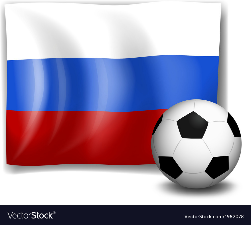 The flag of russia at the back of a soccer ball vector | Price: 1 Credit (USD $1)