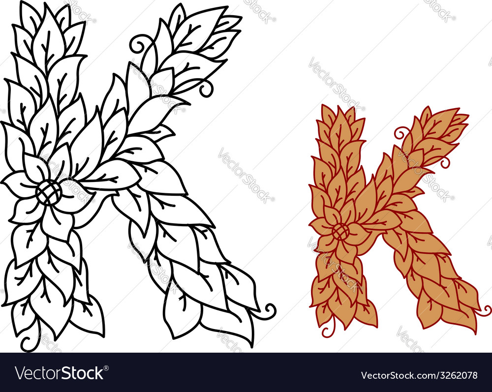 Floral and foliate font letter k vector | Price: 1 Credit (USD $1)