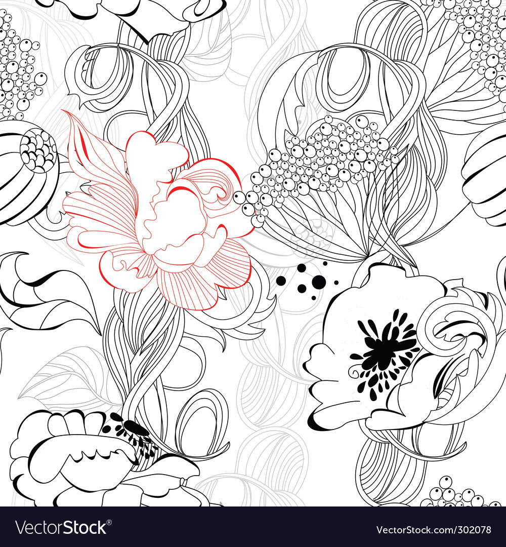 Floral seamless wallpaper vector   Price: 1 Credit (USD $1)
