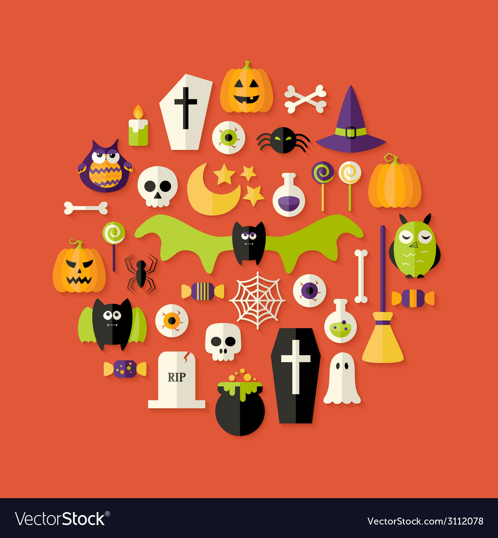 Halloween flat icons set over red vector | Price: 1 Credit (USD $1)