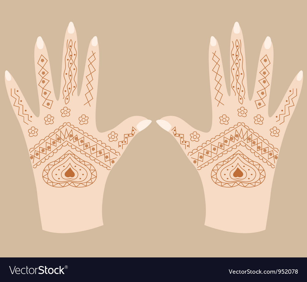 Hands with henna vector | Price: 1 Credit (USD $1)