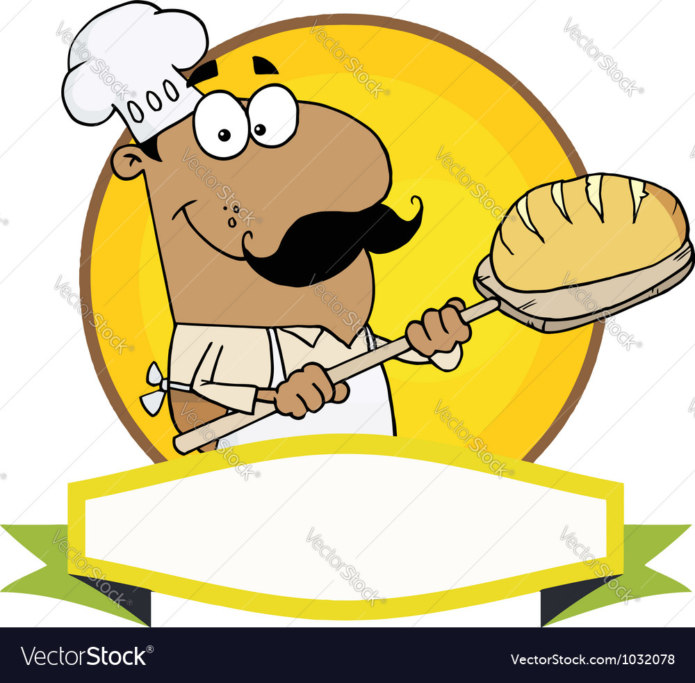 Hispanic baker holding bread vector | Price: 1 Credit (USD $1)