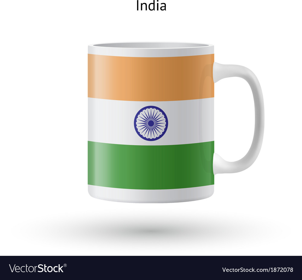 India flag souvenir mug on white background vector | Price: 1 Credit (USD $1)